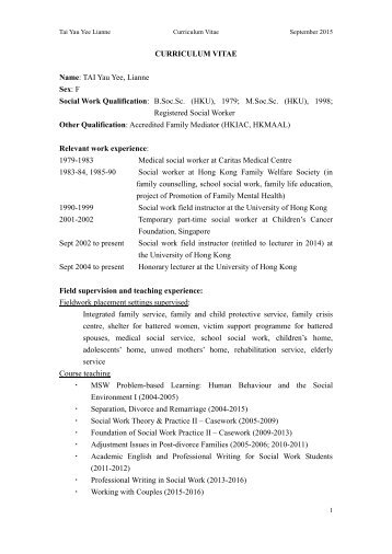 curriculum vitae - Department of Social Work and Social Administration