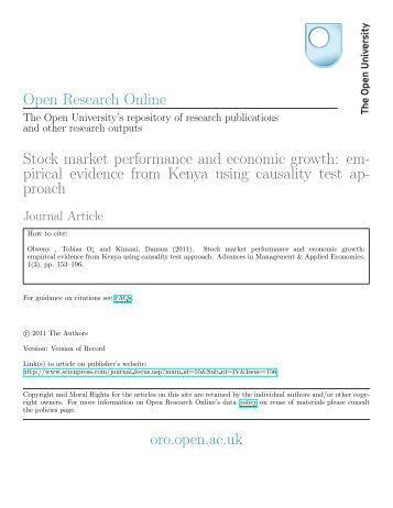 Stock market performance and economic growth: empirical evidence ...