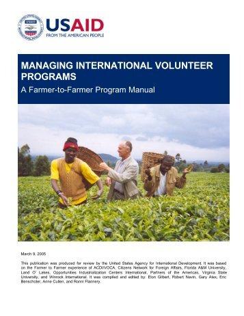 a manual for managing international volunteer programs - part - usaid