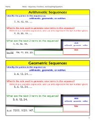 Name Notes - Sequences Functions and Graphing Equations 1