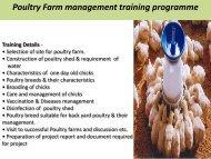 Poultry Farm management training programme
