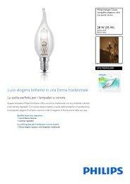 Philips Halogen Classic Lampadina alogena a oliva con punta ricurva - Scheda tecnica - ITA