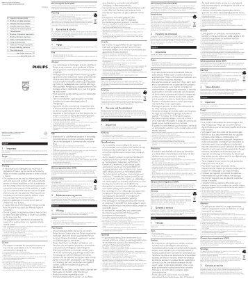Philips Tostapane - Important Information Manual - ITA