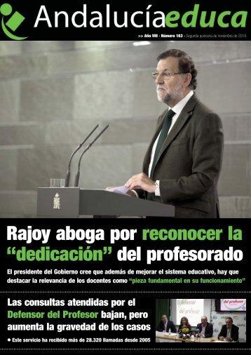 """Rajoy aboga por reconocer la """"dedicación"""" del profesorado"""