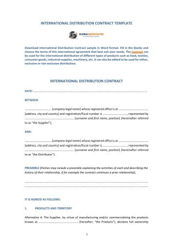 international distribution agreement template - 8 free magazines from globalnegotiator com