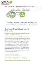 Buy Tele Verified CommVault Simpana Customer Lists from Span Global Services