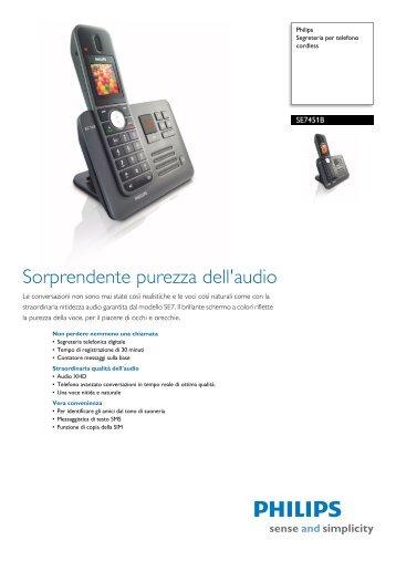 Philips Segreteria per telefono cordless - Scheda tecnica - ITA