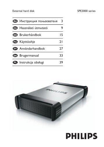 Philips Hard disk esterno - Istruzioni per l'uso - RUS