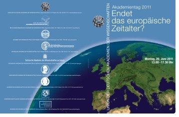 Akademientag zu Endet das europäische Zeitalter - Union der ...