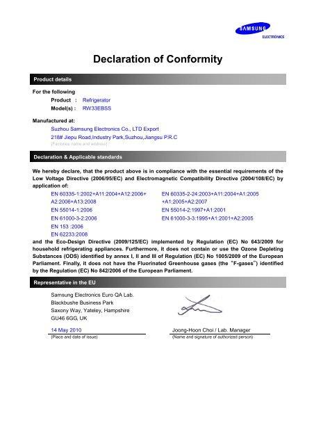 Samsung Cantinetta frigo RW33 da 125 L manuale d\'istruzioni pdf ...