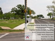 Comprehensive Mobility Project Development Process Capital Metro ¼-Cent Funding