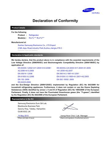 Samsung W07 BMF with No Frost, 306 L, White - DoC(Declaration of Conformity)_0.09 MB, pdf, ENGLISH