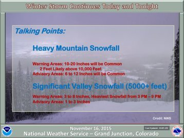 Heavy Mountain Snowfall Significant Valley Snowfall (5000+ feet)
