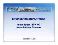 ENGINEERING DEPARTMENT Main Street (STH 74) Jurisdictional Transfer