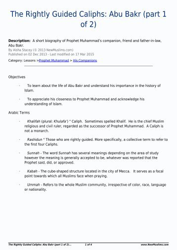 The Rightly Guided Caliphs Abu Bakr (part 1 of 2)