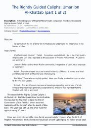 The Rightly Guided Caliphs Umar ibn Al-Khattab (part 1 of 2)