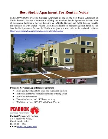 Best Studio Apartment For Rent in Noida