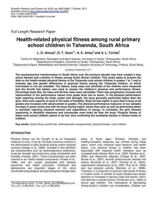 Healthrelated Physical Fitness Among Rural Primary School Children  Healthrelated Physical Fitness Among Rural Primary School Children