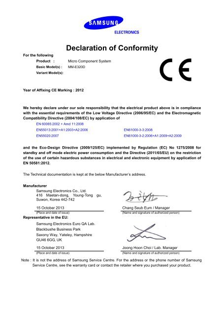 Samsung Sistema Micro HiFi E330D - CE DoC_0 1 MB, pdf, ENGLISH