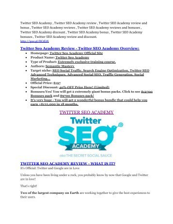 Twitter SEO Academy Review & HUGE $23800 Bonuses