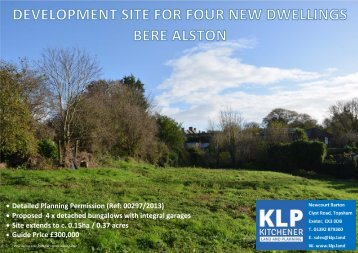 DEVELOPMENT SITE FOR FOUR HOUSES, BERE ALSTON