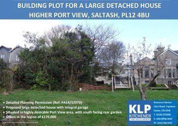 BUILDING PLOT FOR LARGE DETACHED HOUSE, SALTASH