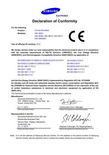 Samsung Soundbar Curva J6001 da 300W, 6.1Ch - CE DoC_0.01MB, pdf, ENGLISH