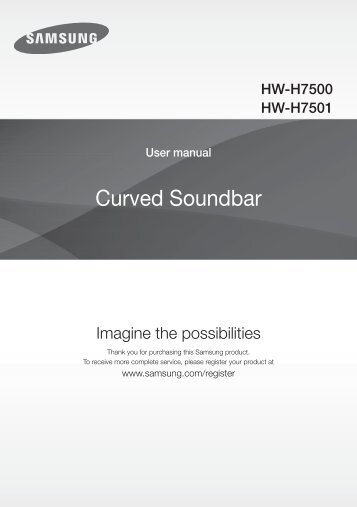 Samsung Soundbar Curva H7501 da 321W, 8.1Ch - User Manual_33.03 MB, pdf, ENGLISH, BULGARIAN, CROATIAN, CZECH, FRENCH, GERMAN, GREEK, HUNGARIAN, ITALIAN, POLISH, ROMANIAN, SERBIAN, SLOVAK, SLOVENIAN