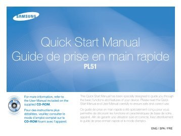 Samsung PL51 - Quick Guide_3.79 MB, pdf, ENGLISH, FRENCH, SPANISH
