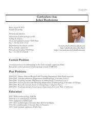 Curriculum vitae Julien Bonhomme Current Position Past Positions Education
