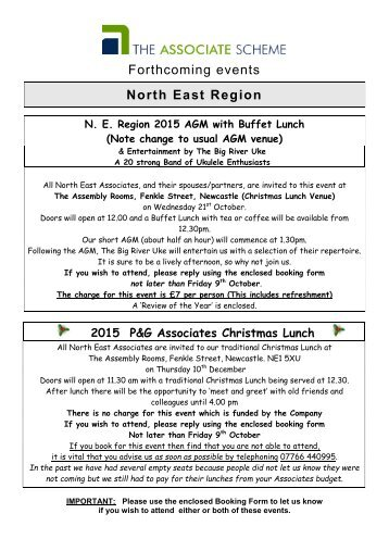 Forthcoming events North East Region