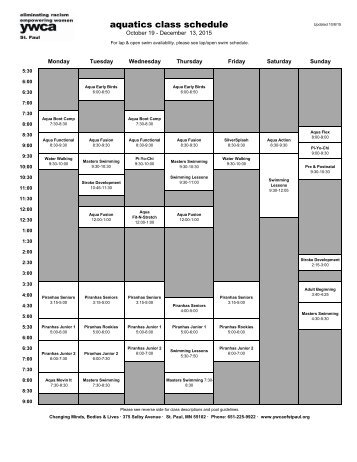 aquatics class schedule