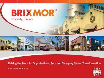 Raising the Bar – An Organizational Focus on Shopping Center Transformation