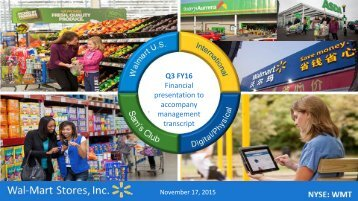 Q3 FY16 Financial presentation to accompany management transcript