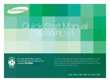 Samsung PL150 - Quick Guide_8.01 MB, pdf, ENGLISH, DUTCH, FRENCH, GERMAN, ITALIAN, PORTUGUESE, SPANISH