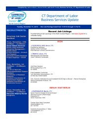 CT Department of Labor Business Services Update