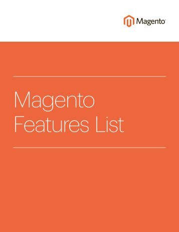 Magento Features List