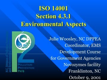 ISO 14001 Section 4.3.1 Environmental Aspects - P2 InfoHouse