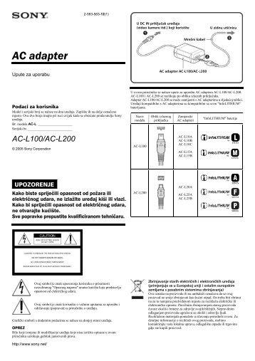 Sony AC-L100 - AC-L100 Istruzioni per l'uso Croato