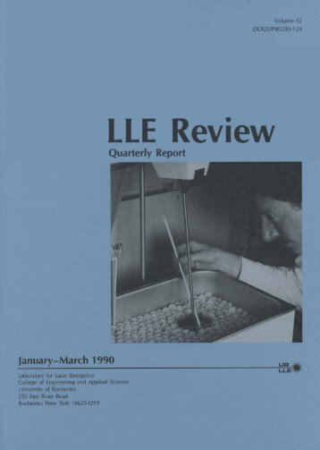 LLE Review - Laboratory for Laser Energetics - University of Rochester