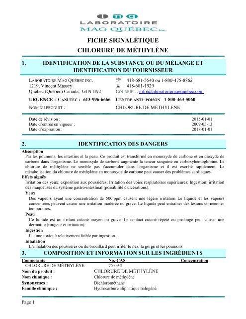637a6bb80cfd FICHE SIGNALÉTIQUE CHLORURE DE MÉTHYLÈNE
