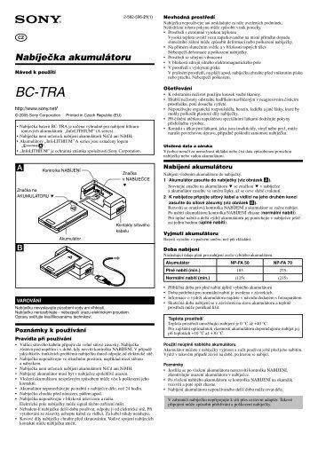 Sony BC-TRA - BC-TRA Istruzioni per l'uso Ceco