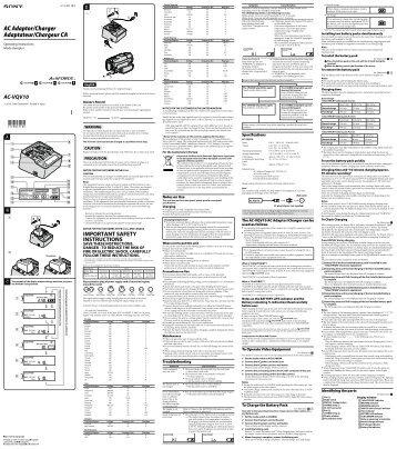 Sony AC-VQV10 - AC-VQV10 Istruzioni per l'uso Inglese