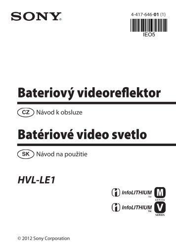 Sony HVL-LE1 - HVL-LE1 Istruzioni per l'uso Slovacco