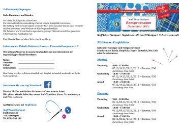 Kursprogramm Stuttgart Herbst/Winter 2015