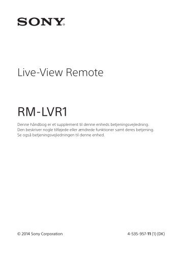 Sony RM-LVR1 - RM-LVR1 Istruzioni per l'uso Danese