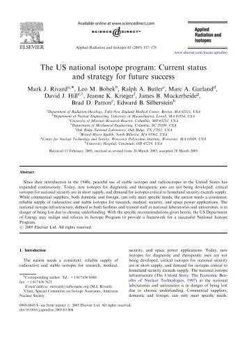 The US national isotope program: Current status and strategy for ...