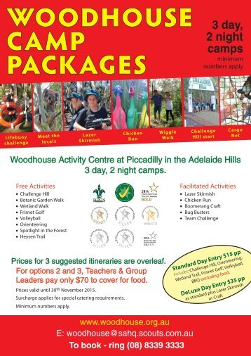 WOODHOUSE CAMP PACKAGES