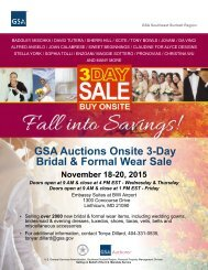 GSA Auctions Onsite 3-Day Bridal & Formal Wear Sale