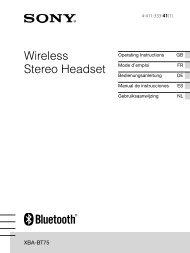 Sony XBA-BT75 - XBA-BT75 Istruzioni per l'uso Inglese